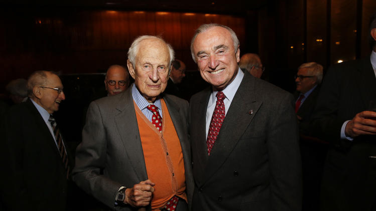 Robert Morgenthau and future NYPD Commissioner Bill Bratton attend the Mr. New York: Lew Rudin and his Love for the City book launch on Wednesday, Dec. 11, 2013 in New York. (Photo by Mark Von Holden/Invision for Rudin Management/AP Images)
