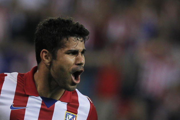 Atletico de Madrid's Diego Costa from Brazil celebrates his goal during a Spanish La Liga soccer match against Osasuna at the Vicente Calderon stadium in Madrid, Spain, Tuesday, Sept. 24, 2013