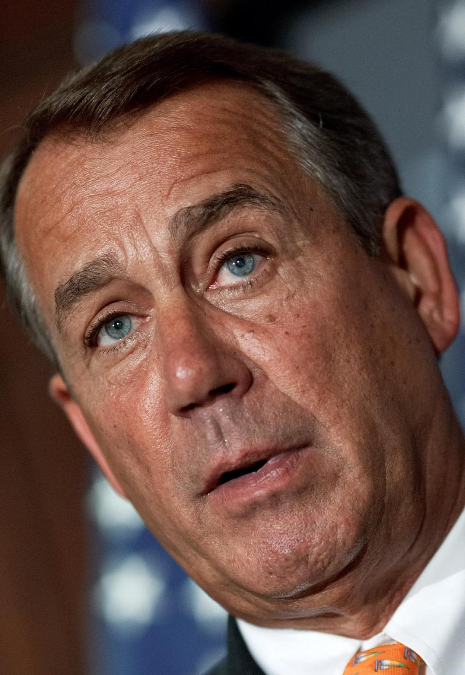 House Speaker John Boehner of Ohio, accompanied by fellow GOP leaders meets with reporters at the Republican National Committee on Capitol Hill in Washington, Wednesday, Aug. 1, 2012.   (AP Photo/J. Scott Applewhite)