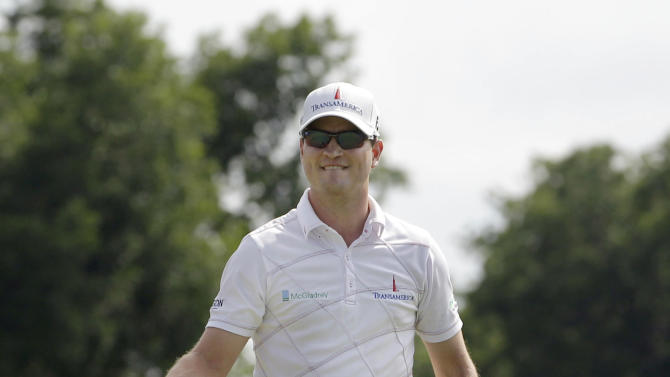 FILE - In this May 27, 2012, file photo, Zach Johnson pumps his fist after winning the Colonial golf tournament in Fort Worth, Texas. Johnson has won two of the last three Colonials. A trip to Hogan's Alley may be just what he needs. Johnson, who doesn't have a top-10 finish this season, is the only golfer in three decades with four consecutive top 10s at Colonial.  (AP Photo/LM Otero, File)
