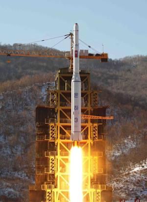FILE - In this Dec. 12, 2012 file photo released by Korean Central News Agency, North Korea's Unha-3 rocket lifts off from the Sohae launch pad in Tongchang-ri, North Korea. By successfully firing a rocket that put a satellite in space, North Korea let the far-flung buyers of its missiles know that it is still open for business. But Pyongyang will find that customers are hard to come by as old friends drift away and international sanctions lock down its sales. (AP Photo/KCNA, File)