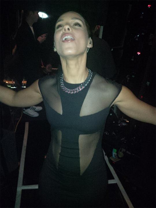 "Backstage at the Grammys 2013: Alicia Keys tweeted this photo of herself straight after coming off stage. She tweeted it with the caption: ""Just got off stage! SO blessed have to have performed in thi"