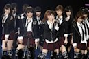 Japanese idol group AKB48 performs during the MTV Video Music Aid Japan in Chiba