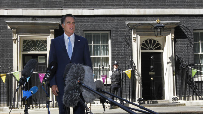In this photo taken July 26, 2012, Republican presidential candidate Mitt Romney talks with reporters outside 10 Downing Street after meeting with British Prime Minister David Cameron in London. Should Romney become president, he could face difficulties in foreign policy. Abroad this summer he irritated Brits and Palestinians, and last week raised eyebrows by holding Spain up as a prime example of government spending run amok. Romney plans a foreign policy speech Monday Oct. 8, 2012.  (AP PhotoCharles Dharapak)