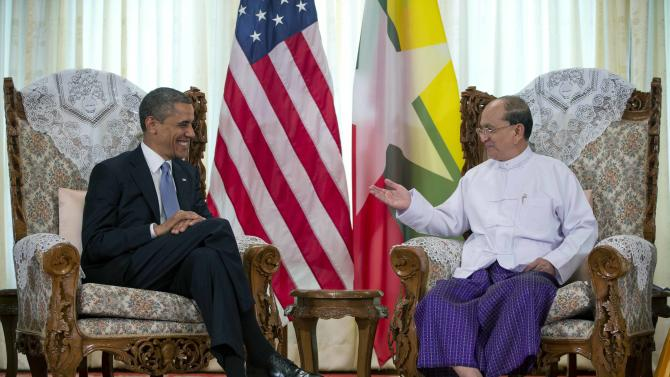 U.S. President Barack Obama, left, meets with Myanmar's President Thein Sein at the Yangon Parliament building in Yangon, Myanmar, Monday, Nov. 19, 2012. This is the first visit to Myanmar by a sitting U.S. president. (AP Photo/Carolyn Kaster)