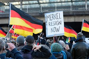German far-right supporters demonstrate at Cologne's…