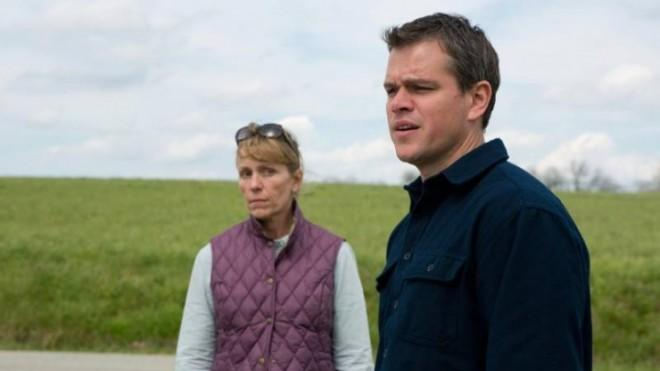 In Promised Land, Matt Damon (seen here with co-star Frances McDormand)plays a character torn overfracking.