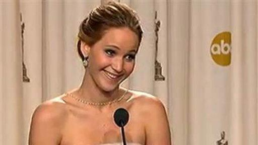After Fall at Oscars, Jennifer Lawrence Wins With Humor
