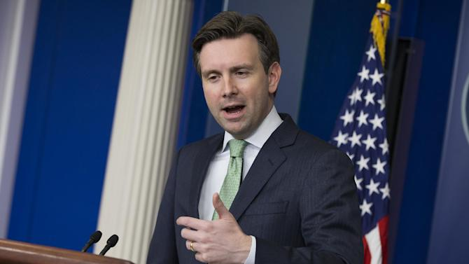 White House press secretary Josh Earnest answers questions about the upcoming budget proposal from President Barack Obama, Thursday, Jan. 29, 2015, during the daily briefing at the White House in Washington. (AP Photo/Evan Vucci)
