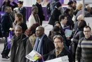 A crowd of job seekers attends a health care job fair, March 14, 2013 in New York. THE CANADIAN PRESS/AP, Mark Lennihan