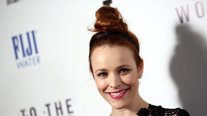 """IMAGE DISTRIBUTED FOR FIJI WATER - Actress Rachel McAdams arrives at the premiere of """"To The Wonder"""" hosted by FIJI Water on Tuesday, April 9, 2013 in Los Angeles. (Photo by Matt Sayles/Invision for Fiji Water/AP Images)"""