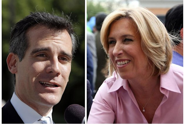 File-This file combo shows a Feb. 20, 2013 file photo of Los Angeles mayoral candidate Eric Garcetti speaking to media in Los Angeles, left, and undated image provided by the Wendy Greuel Campaign of