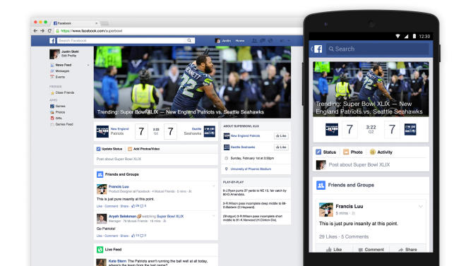 This image provided by Facebook, shows the apps Trending Super Bowl hub. As the latest step in Facebook's focus on sports, it is launching Trending Super Bowl for Sunday's NFL Super Bowl XLIX football game between the new England Patriots and Seattle Seahawks. It will be a dedicated real-time hub where followers can not only check the scoreboard module, but also read content posted by professional media, celebrities and friends, and view video and official photos from the game. (AP Photo/Facebook)