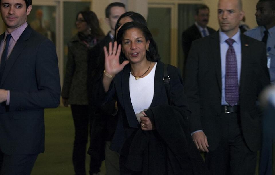 UN Ambassador Susan Rice walks from the United Nation General Assembly at U.N. headquarters, Thursday, Nov. 29, 2012, after a vote was cast that overwhelmingly recognized a Palestinian state, a long-sought victory for the Palestinians but an embarrassing diplomatic defeat for the United States.   (AP Photo/Craig Ruttle)
