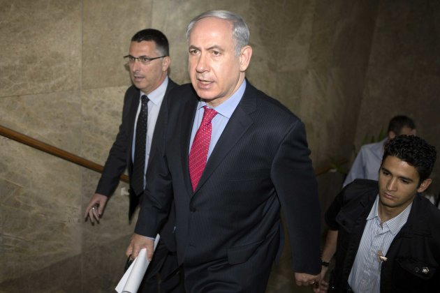 Israeli Prime Minister Benjamin Netanyahu arrives for the weekly cabinet meeting at his office in Jerusalem