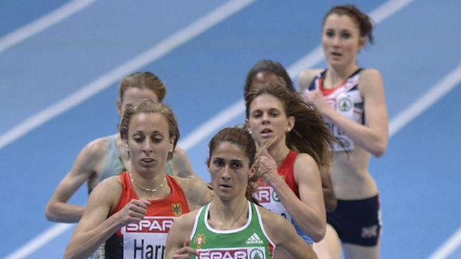 Portugal's Sara Moreira leads to win the women's 3000m final at the Athletics Indoor European Championships in Gothenburg, Sweden, Sunday, March 3, 2013. (AP Photo/Martin Meissner)