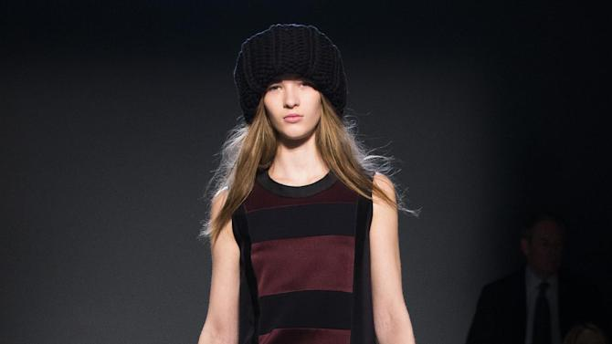 The Victoria, Victoria Beckham Fall 2013 collection is modeled during Fashion Week in New York, Tuesday, Feb. 12, 2013. (AP Photo/John Minchillo)