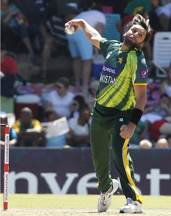 Pakistan's Afridi makes a delivery during their one-day international cricket match against South Africa in Bloemfontein