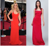 Long red evening dress by Nicole Miller $550