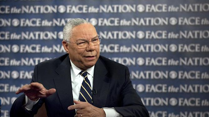 """In this photo released by CBS former Secretary of State General Colin Powell speaks on CBS's """"Face the Nation"""" in Washington Sunday, Aug. 28, 2011. Powell took issue with former Vice President Dick Cheney's book, """"In My Time: A Personal and Political Memoir,"""" which is set for release Tuesday. He said Cheney's book took """"cheap shots"""" at him as well as others in the administration. (AP Photo/CBS, Chris Usher)"""