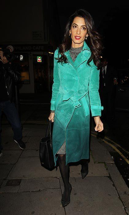 Amal Clooney raises the bar for fall fashion in a $6,436 Burberry coat