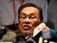 """Opposition leader Anwar Ibrahim speaks during a press conference in Penang on May 6, 2013. He said Monday his Malaysian opposition planned to contest the results of a bitter weekend election battle and that the 56-year-old ruling bloc, which retained its grip on power, had """"lost its legitimacy"""""""