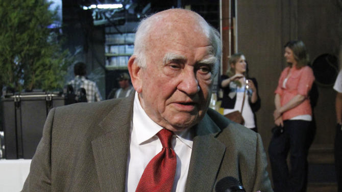 In this Tuesday, May 29, 2012 photo, actor and former Screen Actors Guild President Ed Asner is interviewed by a television station in Portland, Ore. The advocacy group Autism Speaks is offering custom-recorded messages from celebrities from Dec. 3, 2012 to Dec. 9 to raise money for the organization. Asner, came up with the unique fundraiser with his son Matt, who works for the group. (AP Photo/Don Ryan)