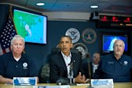 US President Barack Obama speaks to the press after a briefing on hurricane Sandy at the Federal Emergency Management Agency (FEMA) in Washington on October 28. Obama raced back to the White House Monday ahead of Hurricane Sandy, which threw election endgame plans into turmoil just one week before he asks Americans for a second term