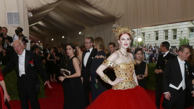 "British model Kate Elson arrives for the Metropolitan Museum of Art Costume Institute Gala 2015 celebrating the opening of ""China: Through the Looking Glass,"" in Manhattan"