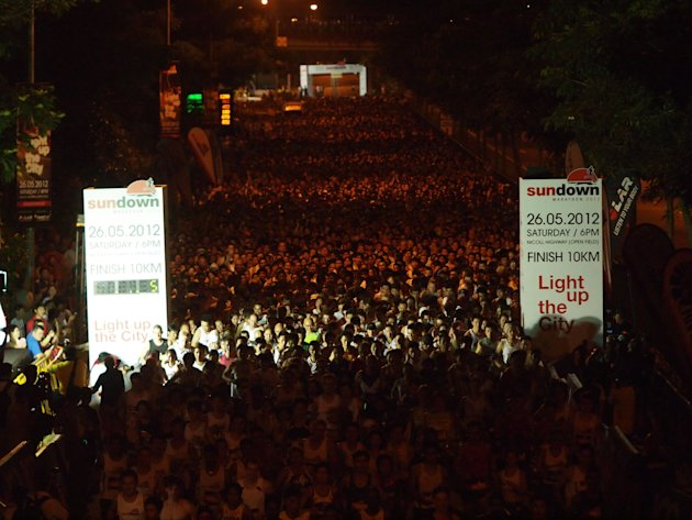 A record-breaking 28,000 runners pounded the streets of Singapore at the Sundown Marathon. (Photo courtesy of HiVelocity Events)