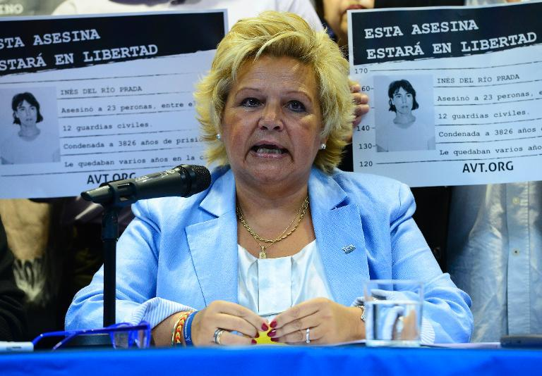 Angeles Pedraza -- president of the Association of Victims of Terrorism (AVT) -- gives a press conference in Madrid, on October 21, 2013, to denounce a decision of the European Court of Human Rights to release ETA militant Ines Del Rio Prada