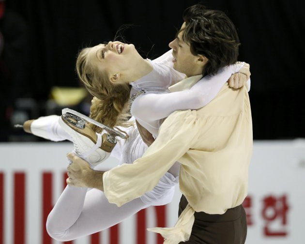 Weaver and Poje of Canada perform their ice dance free dance at the ISU World Figure Skating Championships in London, Ontario