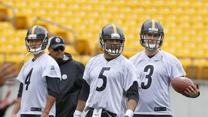 Pittsburgh Steelers quarterbacks John Parker Wilson, (4),  Bruce Gradkowski (5) and Landry Jones (3) line up to start drills during the NFL football practice on Thursday, June 6, 2013  in Pittsburgh. Starting quarterback Ben Roethlisberger had arthroscopic surgery on his right knee Wednesday, June 5, 2013 to remove cartilage that was causing Roethlisberger some discomfort. He is expected to be ready to go for training camp, but missed the practice today and will also miss the minicamp practices next week. (AP Photo/Keith Srakocic)