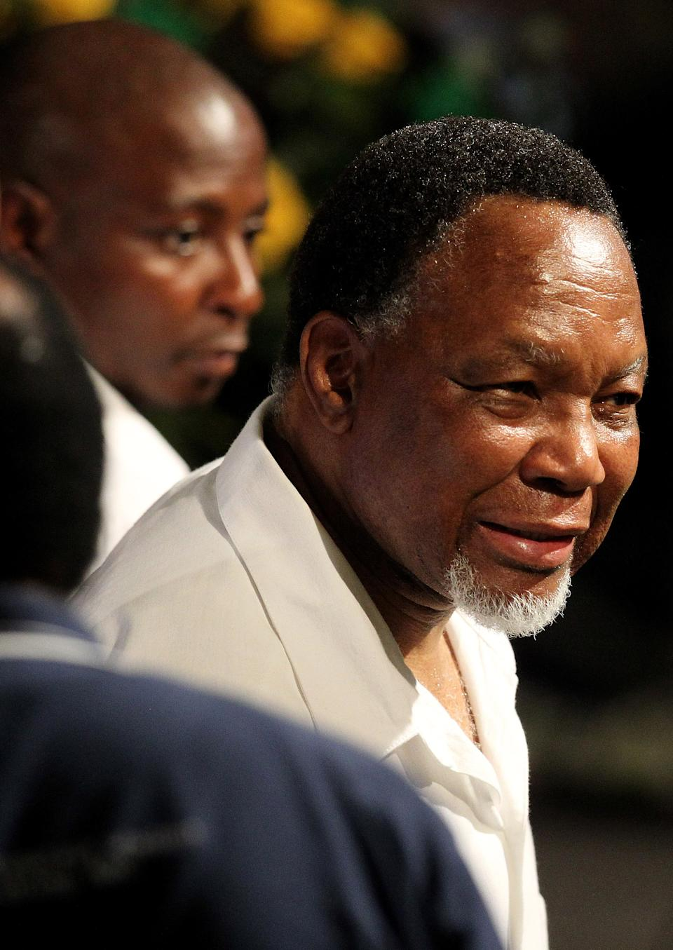 Ruling party African National Congress (ANC) deputy president Kgalema Motlanthe meets delegates at the end of the nominations for the new leadership of the ANC's elective conference at the University of the Free State in Bloemfontein, South Africa, Monday, Dec. 17, 2012. (AP Photo/Themba Hadebe)
