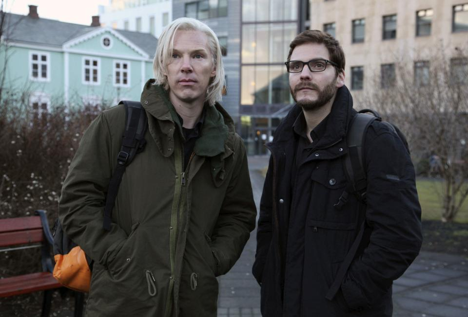 "FILE - This undated file photo provided by DreamWorks Studios shows Benedict Cumberbatch, as Julian Assange, left, with Daniel Bruhl, as Daniel Domscheit-Berg, in the WikiLeaks drama, ""The Fifth Estate."" (AP Photo/ Frank Connor, File)"