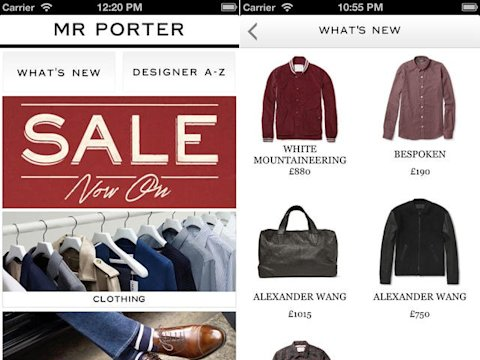 Mr Porter app men's fashion