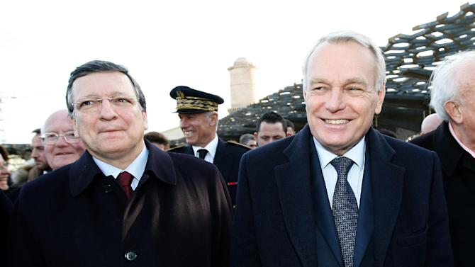 French First Minister Jean-Marc Ayrault, right, visits the MuCem (Museum of Civilisations from Europe and the Mediterranean) with European Commission President Jose Manuel Barroso, left, in Marseille, southern France, Saturday, Jan. 12, 2013(AP Photo/Claude Paris, pool)