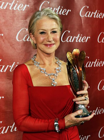 Helen MIrren shows off her award at the 24th Annual Palm Springs Film Festival Gala on January 5, 2013.