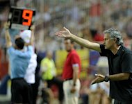 Real Madrid's coach Jose Mourinho, seen here during their Spanish La Liga match against Sevilla at the Sanchez Pizjuan stadium in Sevilla, on September 15. Mourinho later slammed his team after their 1-0 loss condemned them to the worst league start in a decade