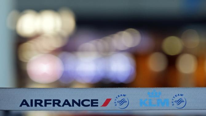 A barrier tape of Air France-KLM is pictured at the Marseille-Provence airport on the second day of an Air France one-week strike