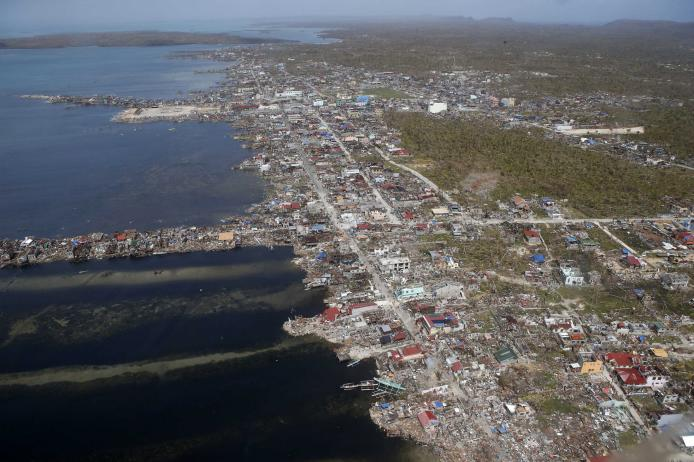An aerial view of the devastation of super Typhoon Haiyan after it battered Samar province in central Philippines