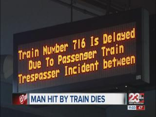 Man hit by train dies