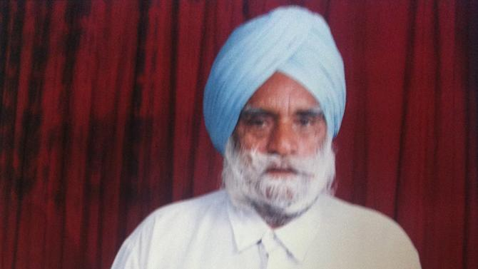 This undated photo provided by Mandeep Singh shows Suveg Singh Khattra. Balginder Khattra of Oak Creek, Wis. said Monday, Aug. 6, 2012, that his 84-year-old father, Suveg Singh Khattra, was among the dead in Sunday's shooting at a Sikh temple in Oak Creek, Wis. (AP Photo/Courtesy Mandeep Singh)