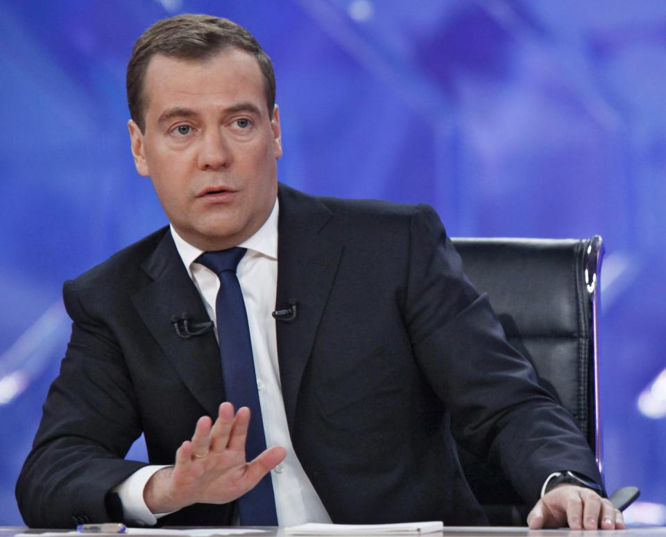 Russian Prime Minister Dmitry Medvedev speaks during live televised interview from Moscow's Ostankino TV Center on Friday, Dec. 7, 2012. (AP Photo/RIA Novosti, Dmitry Astakhov, Government Press Service)