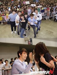Approximately 96,000 fans gathered for 2PM's high-five event in Japan
