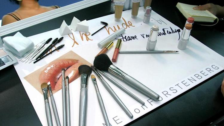 Makeup brushes are pictured backstage at the Diane Von Furstenberg Studio on September 12, 2004 in New York City