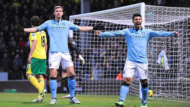 Edin Dzeko and Sergio Aguero, Norwich v Manchester City