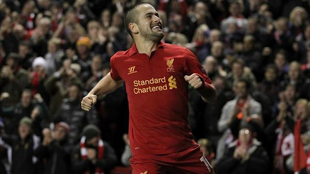 Liverpool's Joe Cole celebrates after scoring his team's second goal