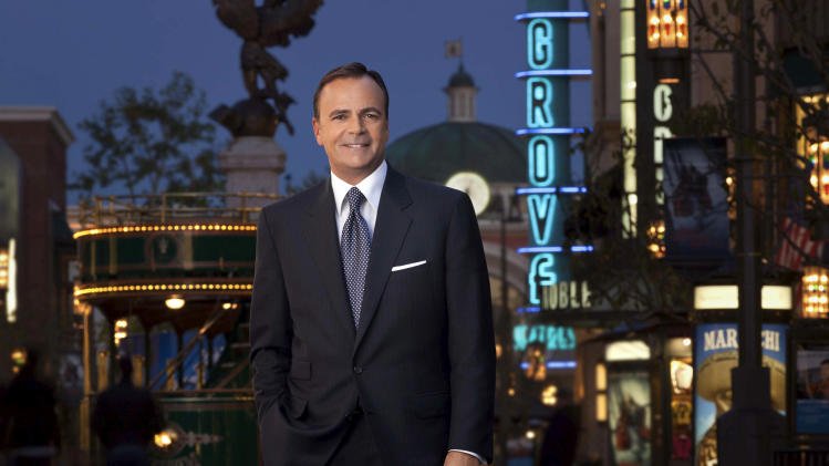 In this April, 2011 photo provided by Sard Verbinnen & Co., real estate developer Rick Caruso poses at The Grove shopping center in Los Angeles. Joe Torre resigned, Wednesday, Jan. 4, 2012, as Major League Baseball's executive vice president for baseball operations to join a group, headed by Caruso, trying to buy the Los Angeles Dodgers. (AP Photo/Sard Verbinnen & Co., Jamey Stillings)