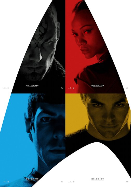 Poster Eric Bana Zoe Saldana Zachary Quinto Chris Pine Star Trek Production Stills Paramount 2009 Comic-Con Reveals